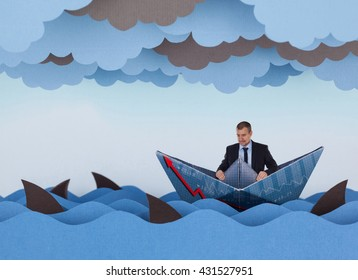 Businessman surrounded by sharks in stormy sea. Competitive business concept. Paper waves, clouds, boat and sharks.