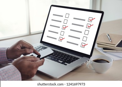 businessman SURVEY and Results Analysis Discovery Concept