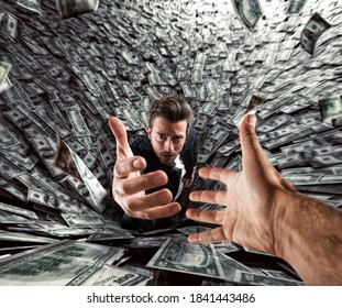 Businessman swallowed by a black hole of money needs help. Concept of failure and economic crisis.