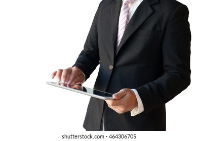 businessman with tablet over white