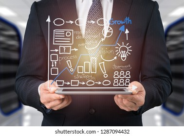 Businessman and tablet pc  with abstract business icon sketches on  background