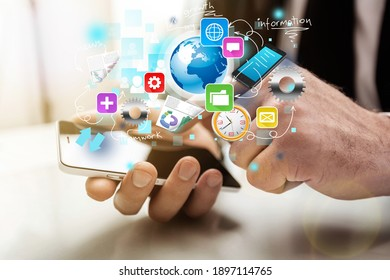 Businessman and tablet pc with media business illustration