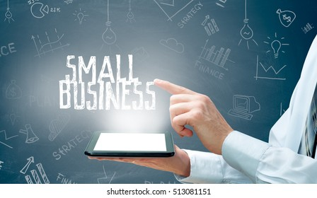 Businessman with tablet. Small business concept diagram hand drawing.