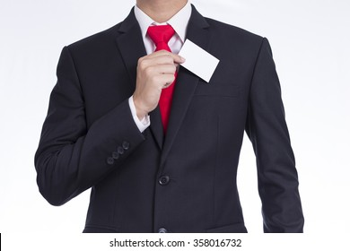 Businessman Take out a Business Card from His Pocket