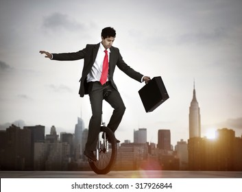 Businessman taking a risk in New York city.