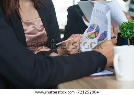 businessman talking about business plan progress stock photo edit