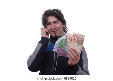 businessman talking to mobile phone and hold money