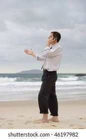 Businessman talking on cell phone on a beach while gesturing with his hand