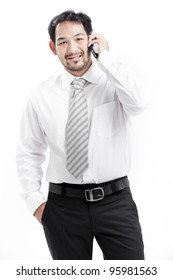 businessman talking on cell phone isolated on white background