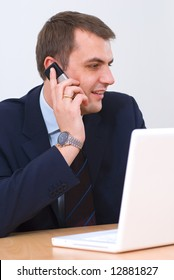 Businessman talking on the phone, smiling stock photo