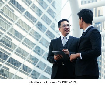 Businessman talking suggestion project procedures.