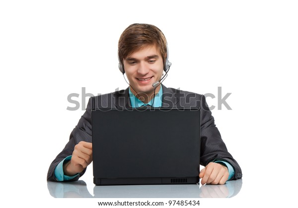 businessman talking using headset laptop web camera, happy smile sitting at the desk in office, handsome young business man call web conference,