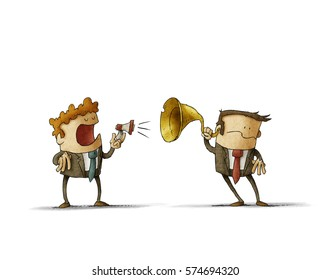 Businessman talks to another by a small megaphone, the other businessman hears him with an ear trumpet. isolated, white background.