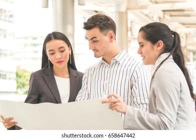 Businessman team meeting outdoor