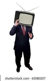 Businessman with television head isolated over white