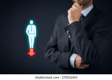 Businessman think about company (or personal) direction.