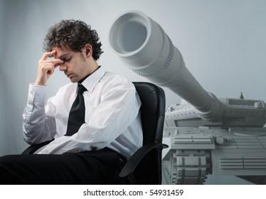 businessman think about possible war problem