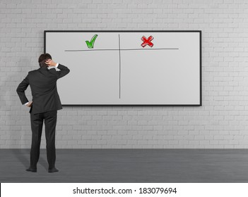 Businessman thinking about pros and cons. Whiteboard.