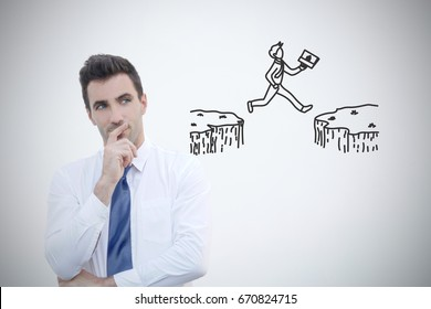Businessman thinking about taking risk for successful future. Stock image