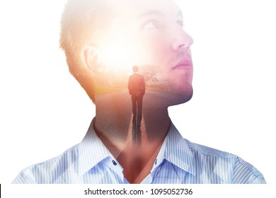 Businessman thinking about the way to success on abstract background with sunlight. Double exposure
