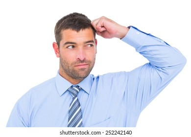 Businessman thinking his hand up on white background