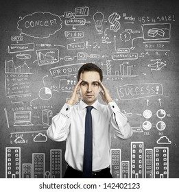 businessman thinking and  wall  with business strategy