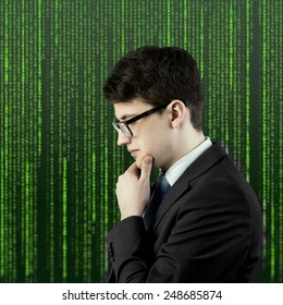 businessman thinking who is appeared through the matrix background