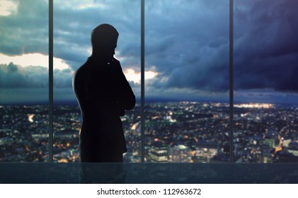 businessman thought and city nightlife