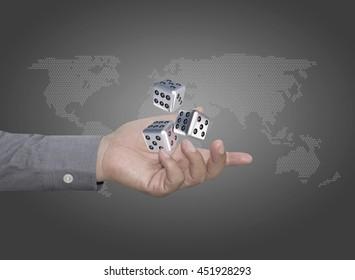 businessman throwing dice