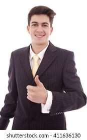 businessman with thumb up, isolated on white