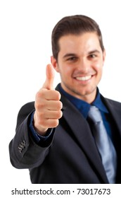 Businessman with thumbs up isolated on white