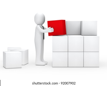 businessman with tie stack red cube box