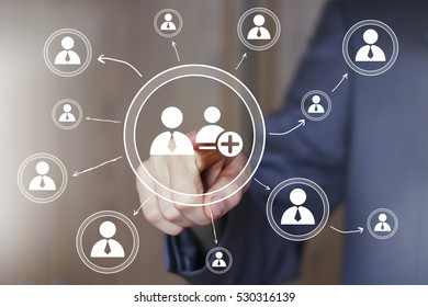Businessman touch button business group network online