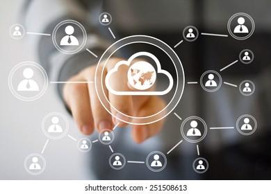 Businessman touch button interface cloud map web icon
