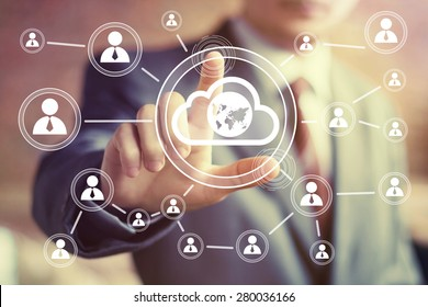 Businessman touch button interface cloud map communication