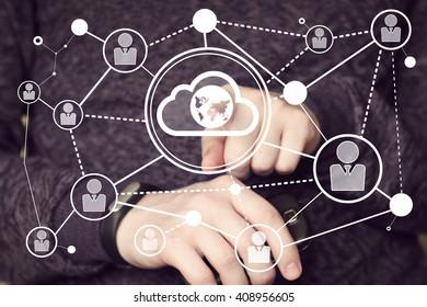 Businessman touch button interface cloud web map