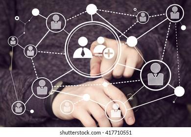 Businessman touch button interface communication group