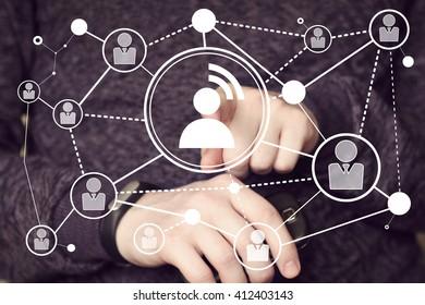 Businessman touch button interface icon communication web