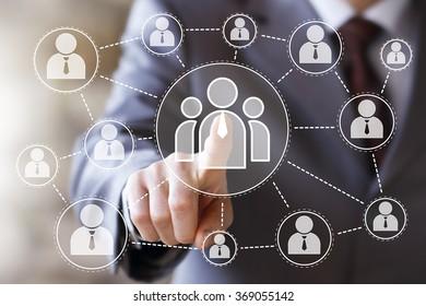 Businessman touch button interface web communication icon