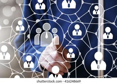 Businessman touch button interface web communication
