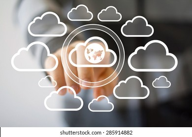Businessman touch button web cloud map network