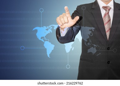 businessman touch digital world map and plan