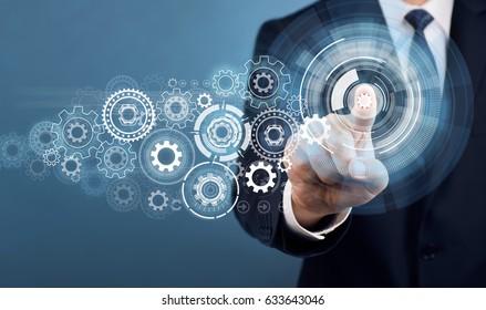 Businessman Touch Screen Concept Set