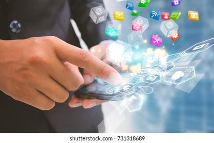 Businessman touch social media isons. Social media concept.