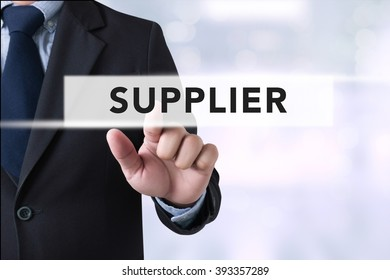 Businessman touch suppliers concept on  Page concept on blurred abstract background