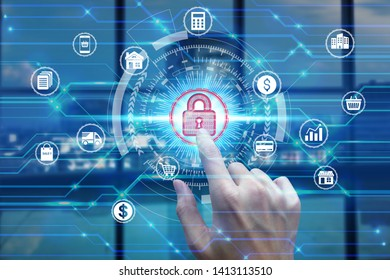 Businessman touch virtual padlock icon over the Network connection, Cyber Security Data Protection Business Technology Privacy concept.