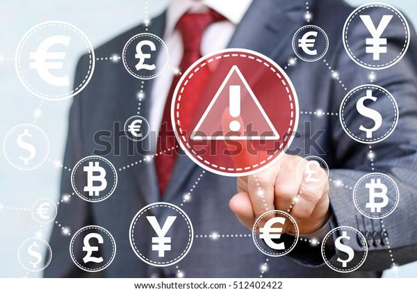 Geschäftsmann berührte Aufmerksamkeit Symbol auf Touchscreen auf dem Hintergrund der Netzwerkwährung. Aufmerksamkeitsmarke mit Triangle Finance Banking Stock Trading-Zeichen. Web-Austausch Geld-Konzept, Internet, Krypto.