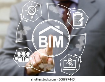 businessman touched bim icon. Building informatiion modelling sign. Build, communication, network, construction, architecture concept, technology, laptop, teamwork, bulb, development, report, design.