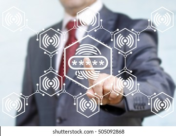 Businessman touched fingerprint icon. Security authorization concept. Identification thumbprint finger sign. Biometric identity button, scanning password. Network, connection, wifi, communication.