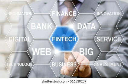 Businessman touched fintech word on touch screen. FINTECH finance icon concept. Banking stock trading button. Internet, technology. Financial cloud hexagon tag. Finance internet technology.
